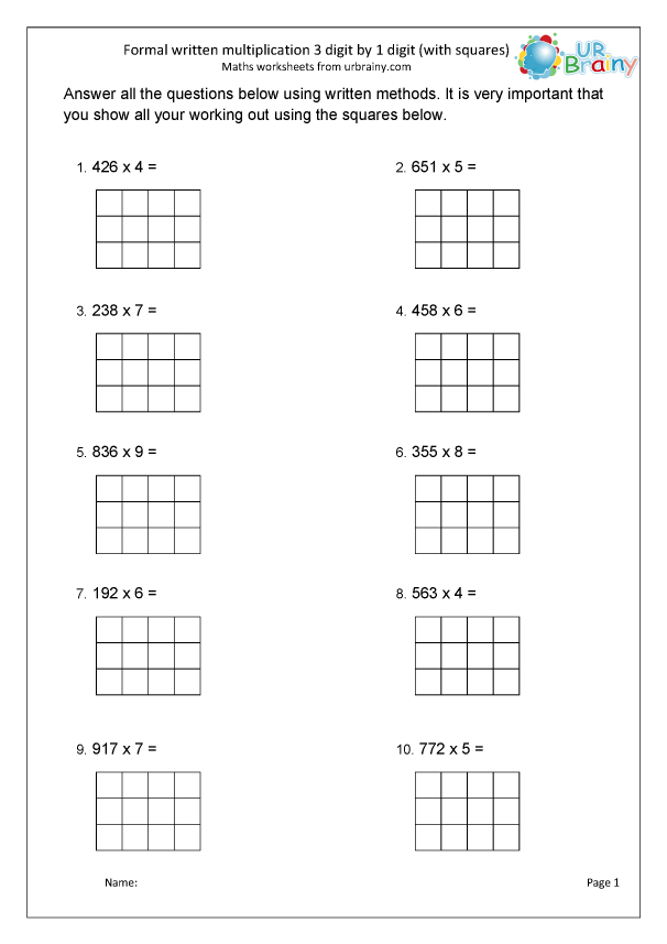 Preview of 'Formal multiplication 3 by 1 with squared paper'
