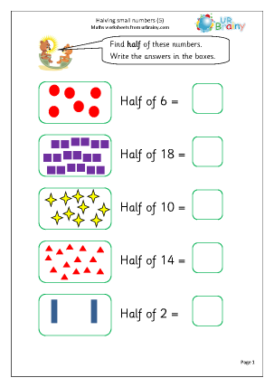 Preview of worksheet Halve small numbers (5)