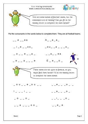 Preview of worksheet Missing consonants
