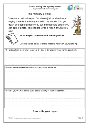 Preview of worksheet The mystery animal