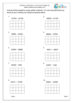 Preview of worksheet Written subtraction with squared paper (5-digit)