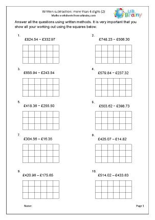 written subtraction with squared paper money subtraction maths worksheets for year 5 age 9 10. Black Bedroom Furniture Sets. Home Design Ideas