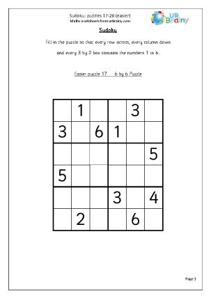 Sudoku 17-20 (easier)