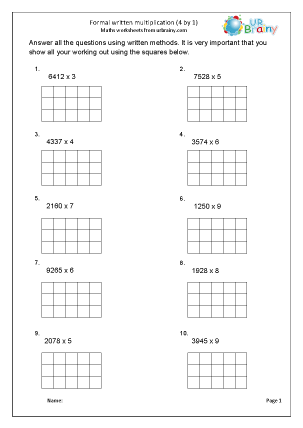 Formal written multiplication (4 by 1)
