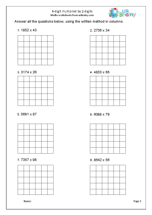 Preview of worksheet Formal written multiplication (4 by 2)