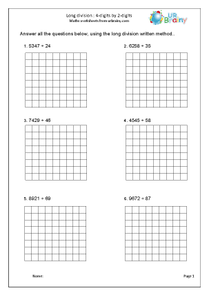 Preview of worksheet Divide 4-digits by 2-digits: with squares
