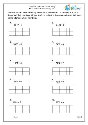 Preview of worksheet Formal written short division (4 by 1)