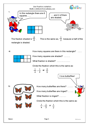 Preview of worksheet Use fraction notation