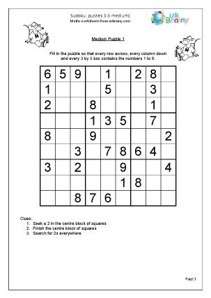 Sudoku 1 to 5 (medium)