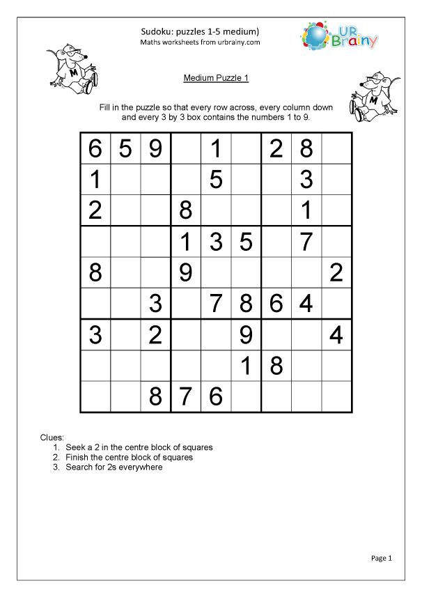 Preview of 'Sudoku 1 to 5 (medium)'