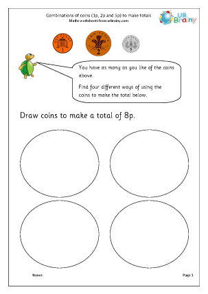 Preview of worksheet Making totals using coins (1)