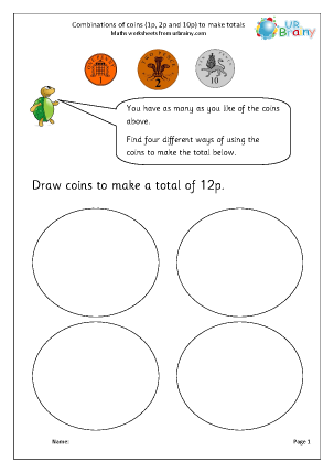 Preview of worksheet Making totals using coins (2)