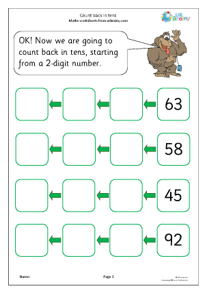 Preview of worksheet Count back in tens