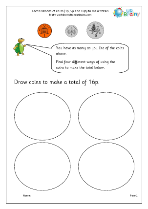 Preview of worksheet Making totals using coins (3)
