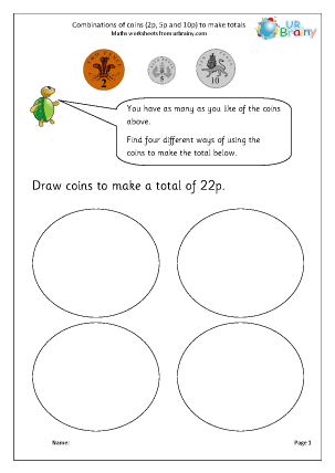 Preview of worksheet Making totals using coins (4)