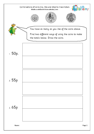 Preview of worksheet Making amounts using coins (1)