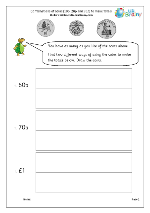 Preview of worksheet Making amounts using coins (2)