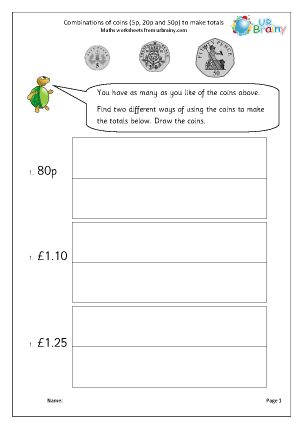 Preview of worksheet Making amounts using coins (3)