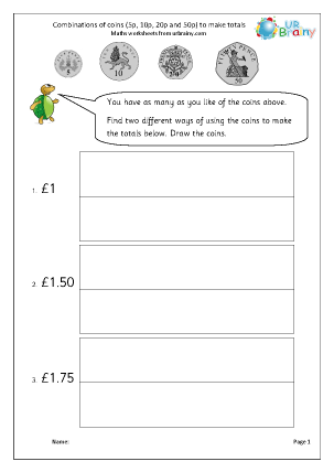 Preview of worksheet Making amounts using coins (4)