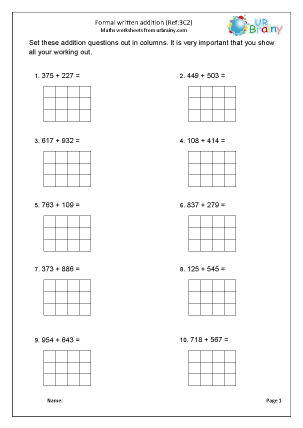 Preview of worksheet Add two 3-digit numbers (3C2)