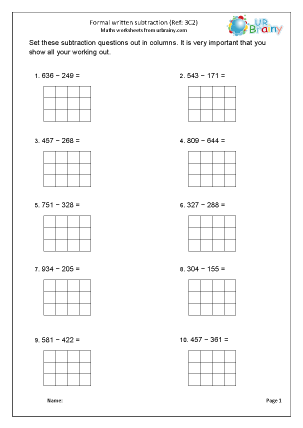 Preview of worksheet Subtract 3-digit numbers (3C2)