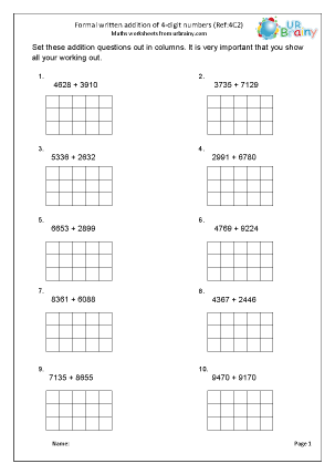 Preview of worksheet Add two 4-digit numbers (4C2)