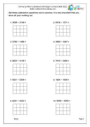Preview of worksheet Subtract 4-digit numbers (4C2)