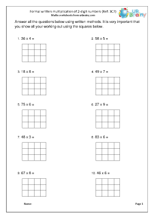 Preview of worksheet Multiply a 2-digit number by 1-digit (3C7)