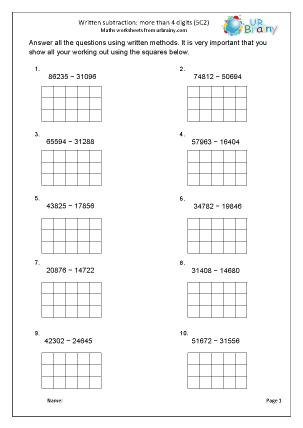 Preview of worksheet Subtract numbers with more than 4-digits (5C2)