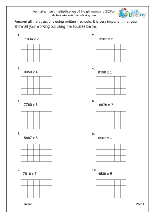 Preview of worksheet Multiply a 4-digit number by 1-digit (5C7a)