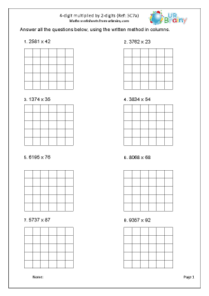 Preview of worksheet Multiply a 4-digit number by a 2-digit number (5C7a)
