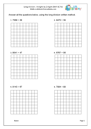 Preview of worksheet Divide a 4-digit number by 2-digits (long method)