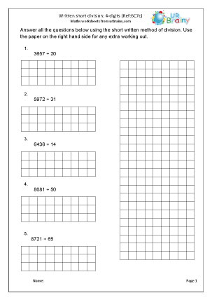 Preview of worksheet Divide a 4-digit number by 2-digits (short method)
