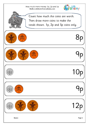 Preview of worksheet How much more money? 1p, 2p and 5p