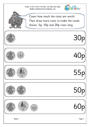 Preview of worksheet How much more money:  5p 10p 20p