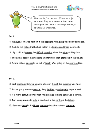 Preview of worksheet Dictation sentences (1)