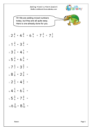 Preview of worksheet Adding mixed numbers (easier)