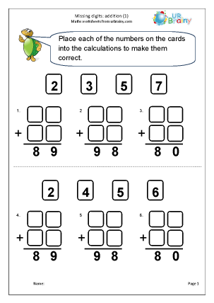 Preview of worksheet Written addition: missing digits (1)