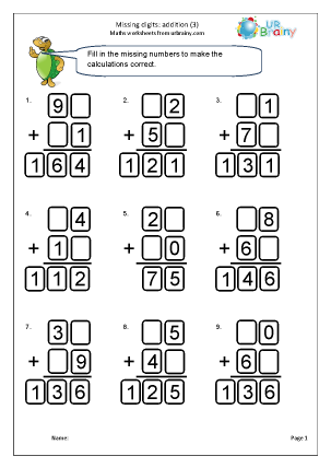 Preview of worksheet Written addition: missing digits (3)