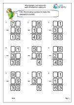 Written subtraction: missing digits (3)