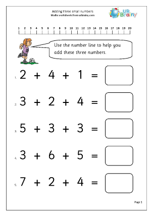 age 7 maths worksheets free add 3 small numbers 1 addition maths worksheets for year 735