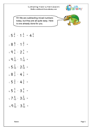 Preview of worksheet Subtracting mixed numbers (easier)