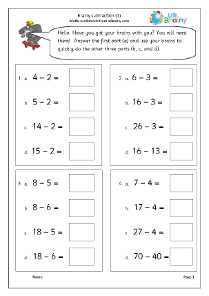 Preview of worksheet Brainy subtraction 1 (intelligent practice)