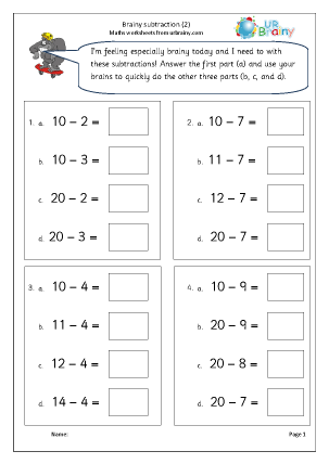 Preview of worksheet Brainy subtraction 2 (intelligent practice)