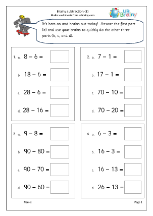 Preview of worksheet Brainy subtraction 3 (intelligent practice)