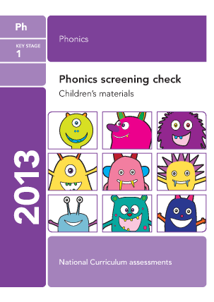 2013 Phonics screening: children's materials