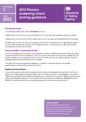 2013 Phonics screening: scoring guidance