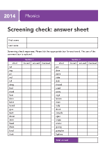 2014 Phonics screening: answer sheet