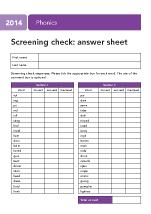 2014 Phonics screening: answer sheet