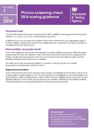Preview of worksheet 2014 Phonics screening: scoring guidance